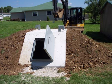 completed storm shelter ready for use